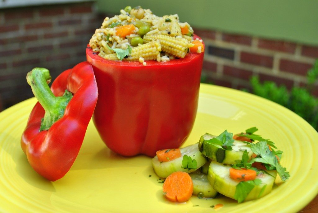 Stir Fry Stuffed Peppers w/ Honey Ginger Cucumber Salad