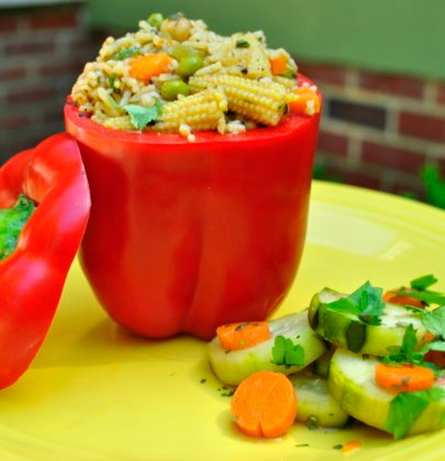 Stir Fry Stuffed Peppers w/ Honey Ginger Cucumber Salad