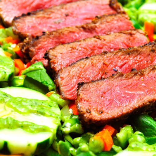 Spiced Steak & Spinach Salad w/ Avocado Vinaigrette