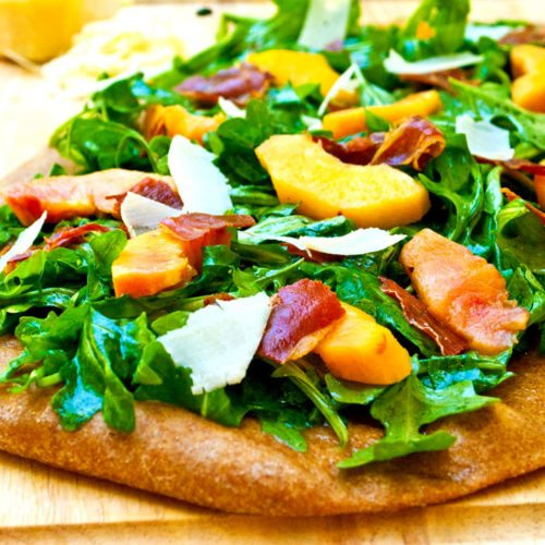 Fresh Peach & Prosciutto Flatbread