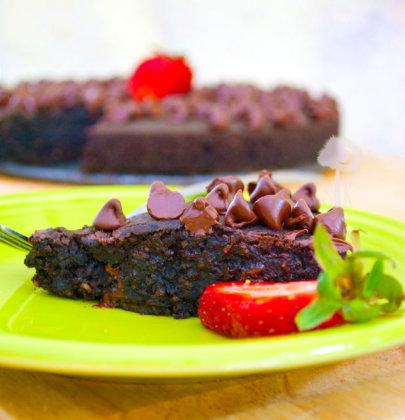 Dark Chocolate Chip Fudge Brownie Cake