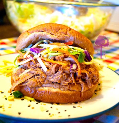 Teriyaki-BBQ Pulled Pork Sandwiches w/ Jicama Asian Slaw