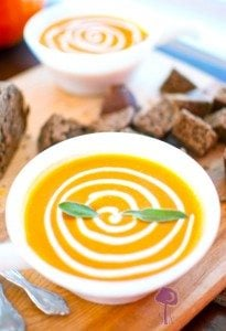 Crock Pot Pumpkin Bisque w/ Gingerbread Croutons & Cinnamon Cream