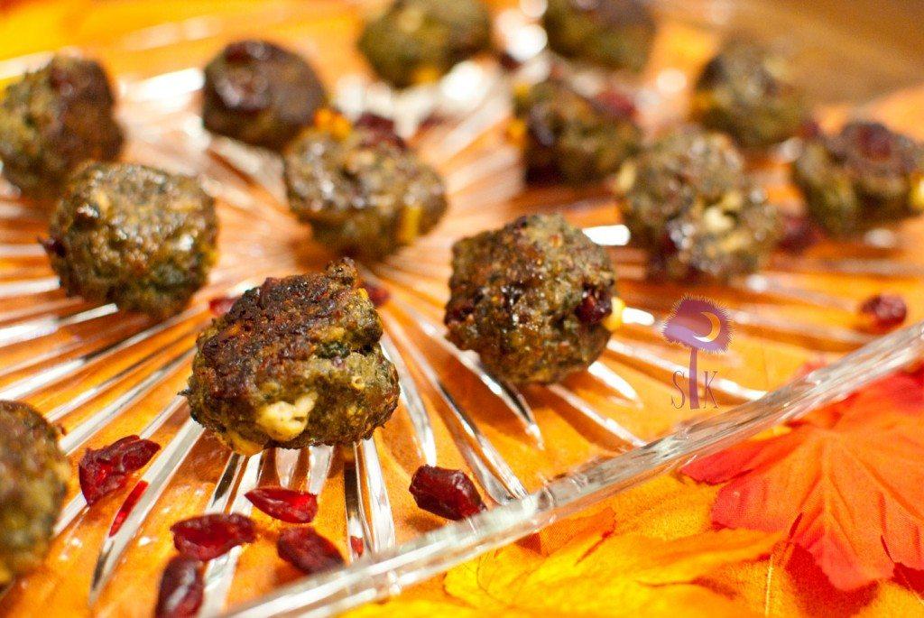 Citrus Scented + Feta Infused + Cranberry Quinoa Sausage Balls