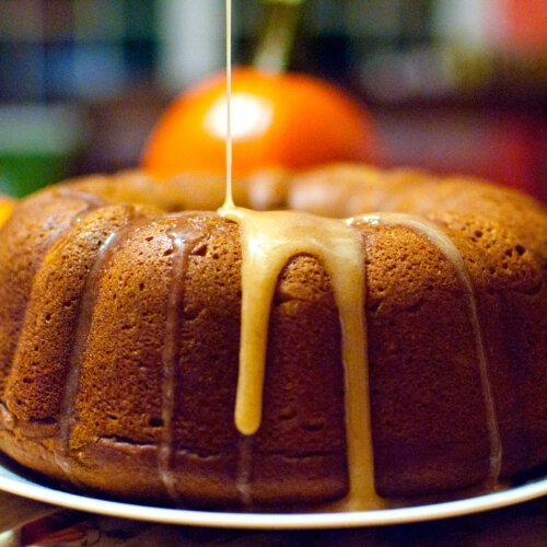 Pumpkin Pound Cake with an Apple Cider Drizzle
