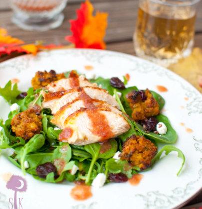 Roasted Turkey Arugula Salad w/ Cornbread Croutons & Cranberry Vinaigrette