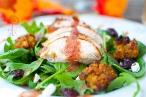 Roasted Turkey Arugula Salad w/ Cornbread Croutons & Cranberry Vinaigrette