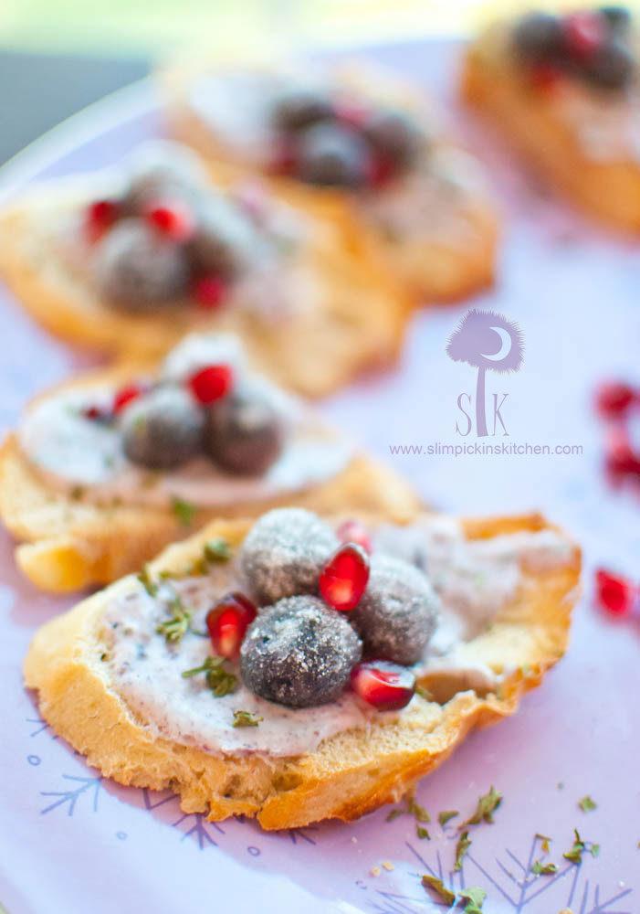Sparkling Blueberry Pomegranate Bruschetta