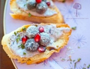 Sparkling Blueberry Pomegranate Bruschetta