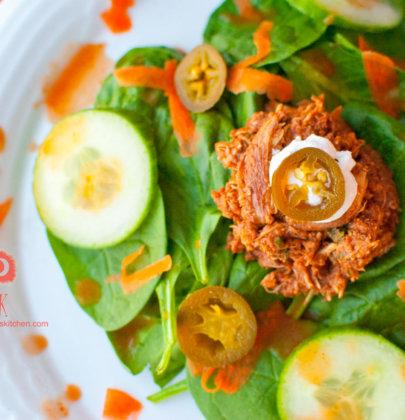 Spicy Crock Pot Chicken Mole Taco Salads