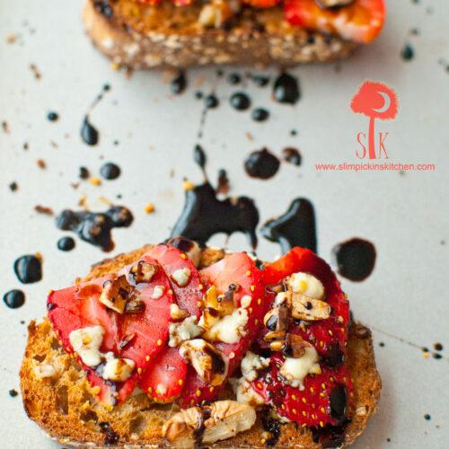 Strawberry Balsamic Bruschetta w/ Gorgonzola Cheese