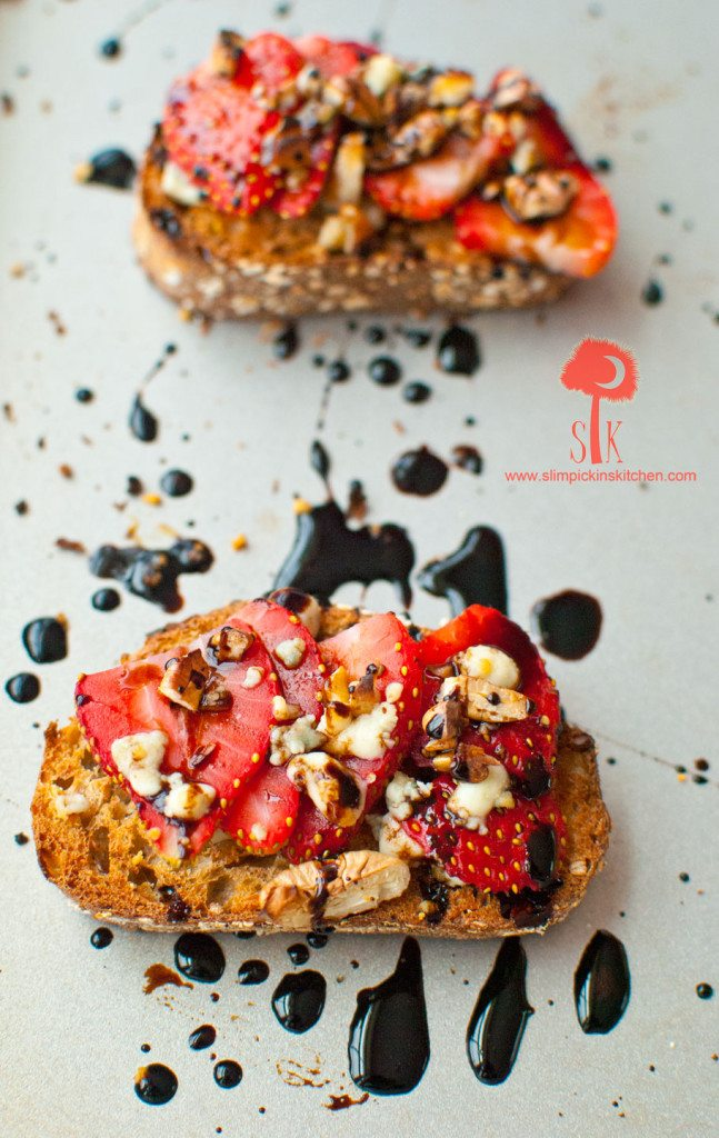 Strawberry Balsamic Bruschetta w/ Gorgonzola Cheese