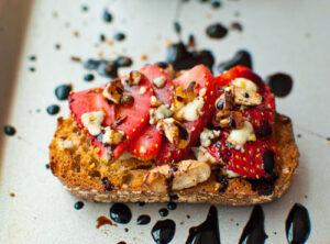 Strawberry Gorgonzola Bruschetta w/ a Balsamic Reduction