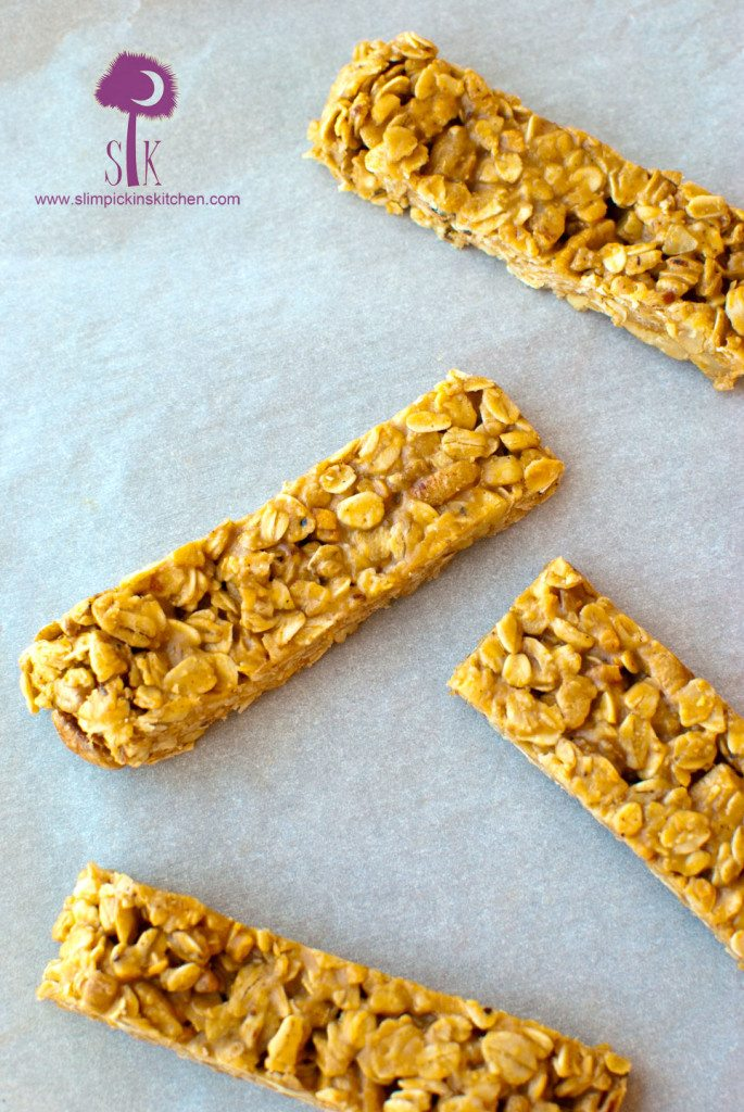 Chewy, No Bake Peanut Butter and Honey Granola Bars