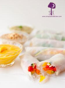 Fresh Veggie Spring Rolls w/ Mango Mustard, Thai Peanut, & Pineapple Jalapeno Dipping Sauces