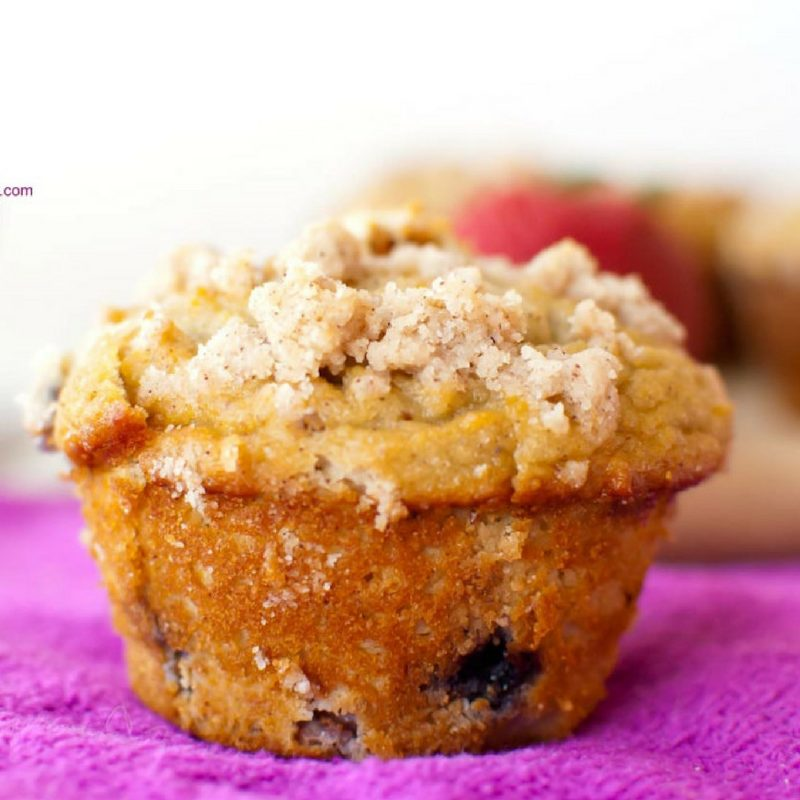 Grain Free Double Berry Crumb Muffins   Almond Flour Muffins