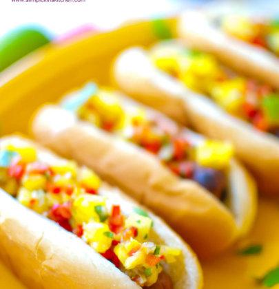 Sausage Dogs w/ Mango Mustard & Pineapple Relish