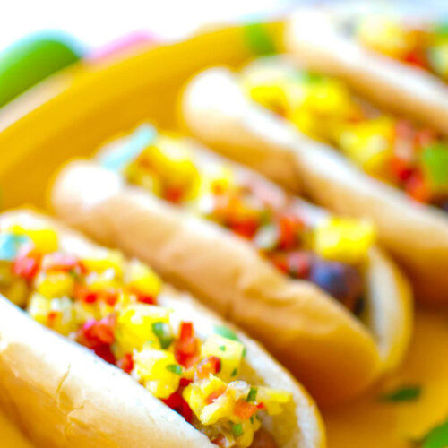 Sausage Dogs w/ Mango Mustard & Pineapple Relish