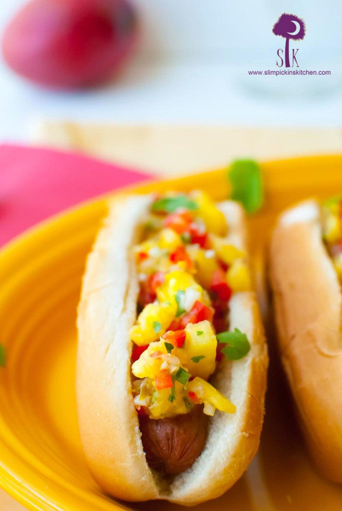 Tropical Chicken Sausage Dogs w/ Mango Mustard and Fresh Pineapple Relish
