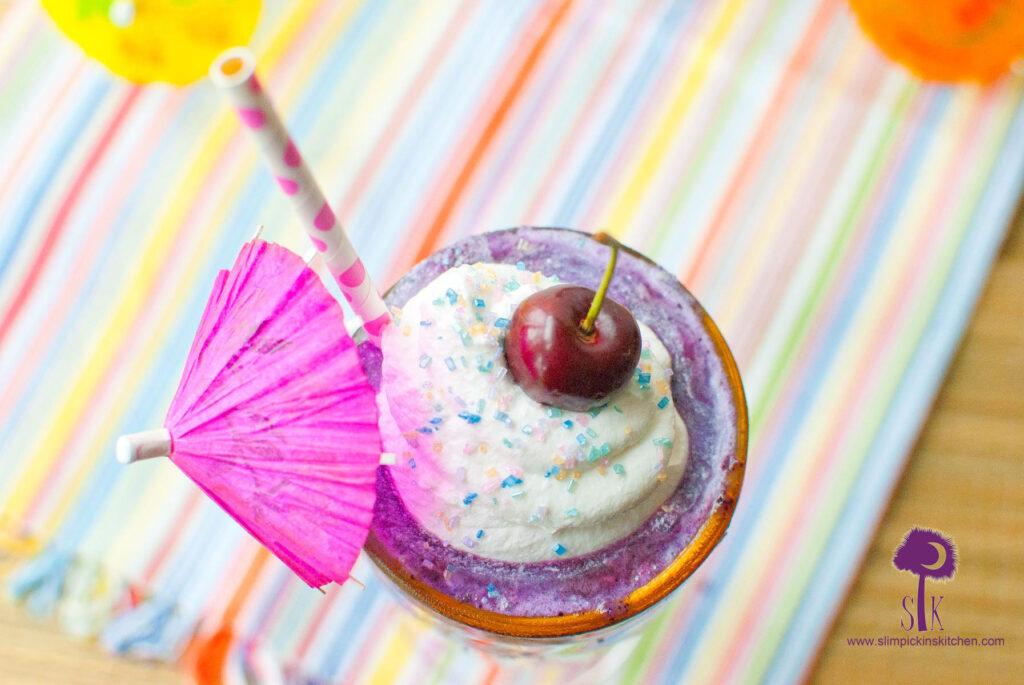 Blueberry Miami Vice Coconut Colada Cocktail