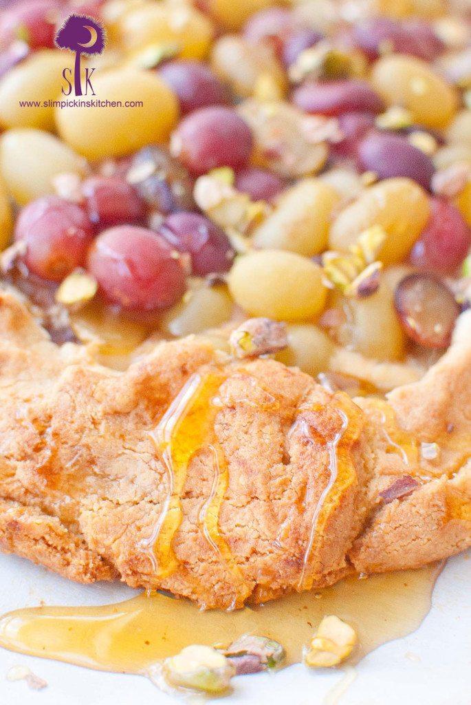 Gluten-free, Grain-Free Drunken Grape and Goat Cheese Galette