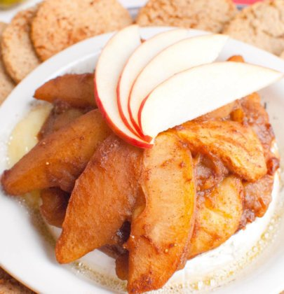 Baked Brie Topped w/ Vanilla Cardamom Spiced Apples