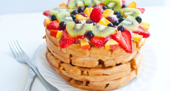 Whole Wheat Fruit Pizza Waffles