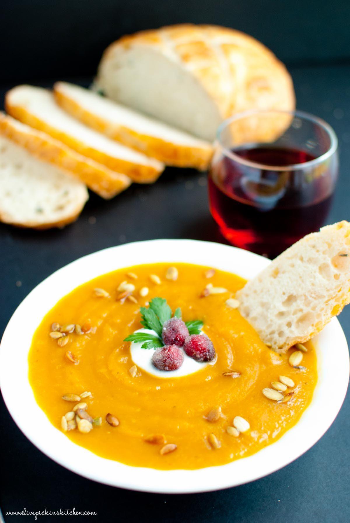 Autumn Harvest Soup with Candied Cranberries * Slim Pickin's Kitchen