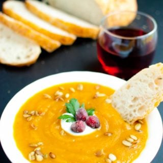 Autumn Harvest Soup with Candied Cranberries * Slim Pickin's Kitchen