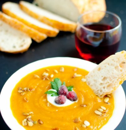 Autumn Harvest Soup with Candied Cranberries