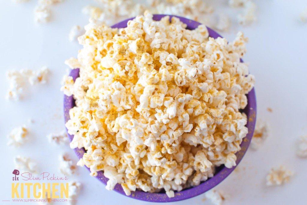 Butter Free Microwave Popcorn w/ Noocho Cheese * Slim Pickin's Kitchen