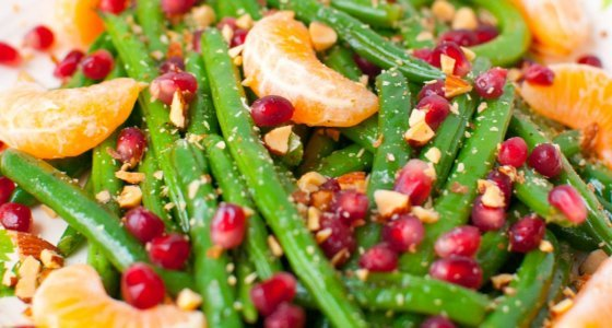 Green Bean Almondine with Pomegranate and Clementines