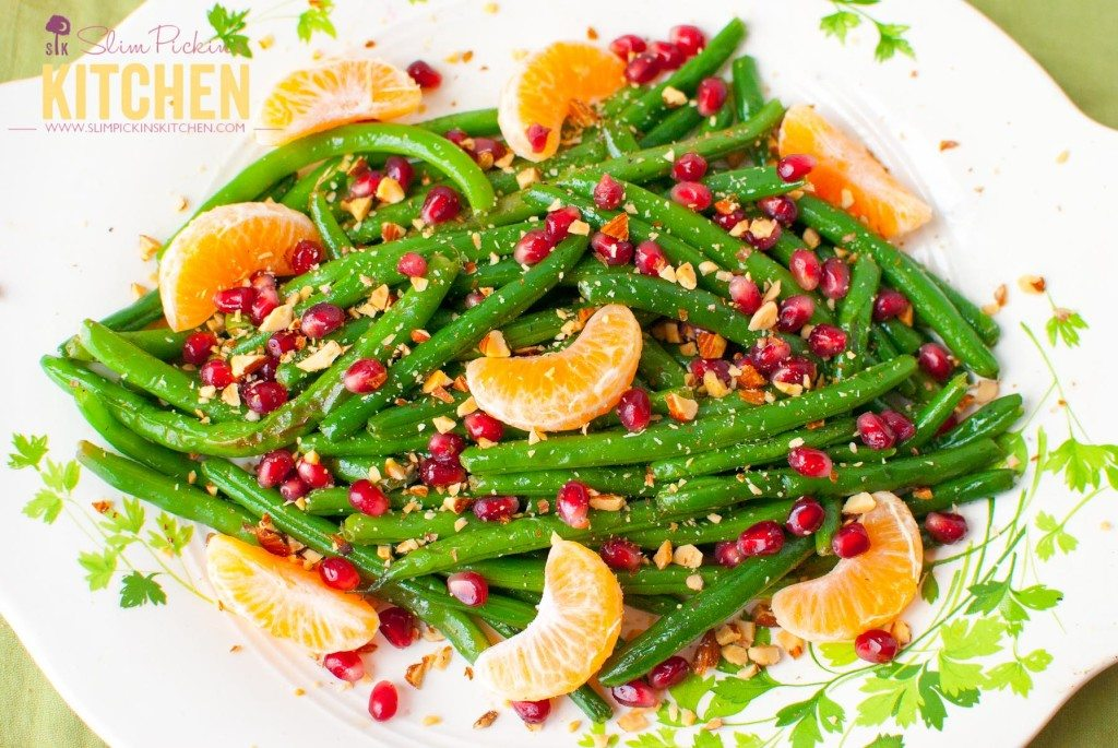 Green Bean Almondine with Pomegrante and Clementines