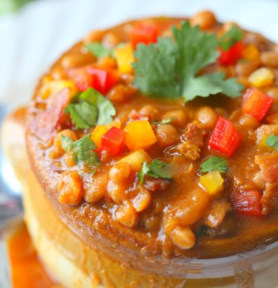 Homemade Baked Beans w/ Amaretto & Bacon