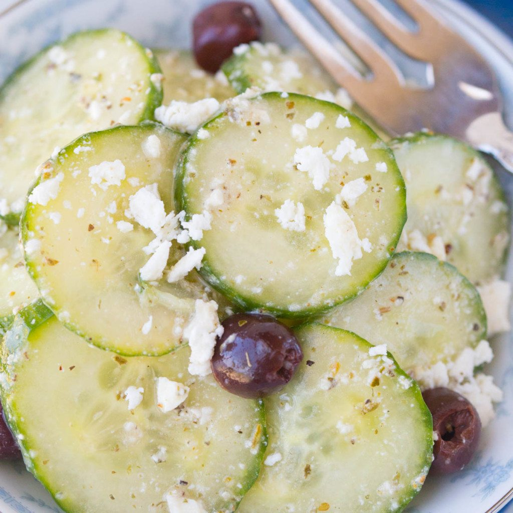 Cucumber Feta Salad w/ Lemon Greek Vinaigrette