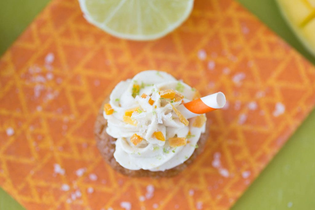 Mini Caramelized Mango Margarita Cupcakes: These gluten-free, grain-free, and refined sugar-free mango margarita cupcakes are insanely delicious, and you'd never know they were full of healthy, good for you ingredients! | www.slimpickinskitchen.com