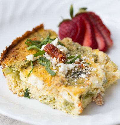 Slow Cooker Sundried Tomato, Asparagus, & Feta Frittata