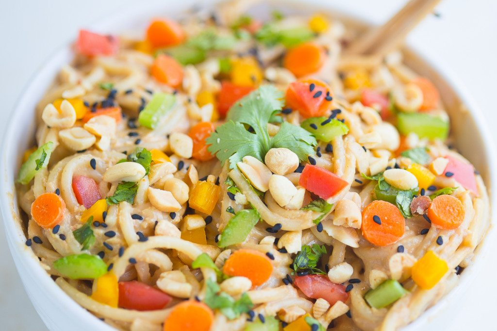 Spicy Thai noodles are a quick and easy dinner recipe that can be ready in under 20 minutes! The smooth, velvety peanut sauce mixed with the crunch of the fresh veggies will make you want to add this to your weekly meal plan.