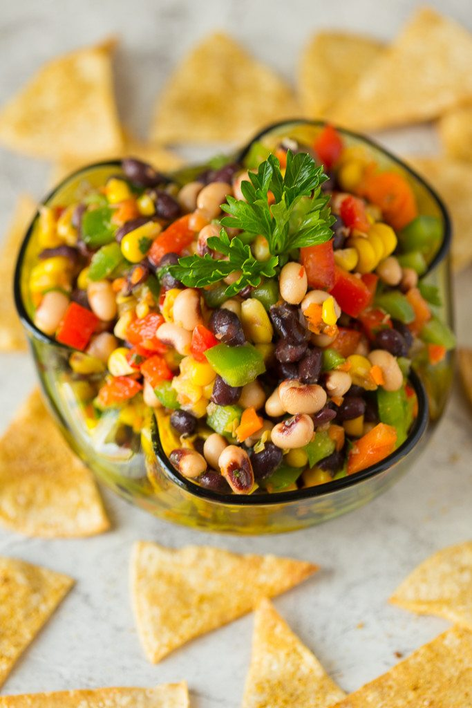 Crunchy, salty, savory and sweet, this Texas Caviar Blackeyed Pea Dip is an awesome healthy snack food that's perfect for tailgating, football or superbowl parties, camping, or picnics!