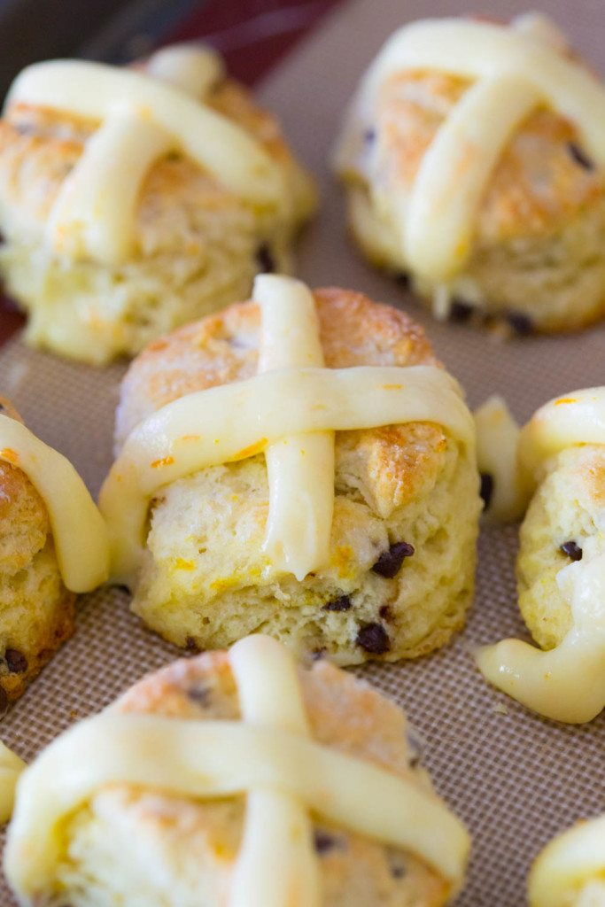 Chocolate Orange Hot Cross Biscuits are a southern take on the classic hot cross buns served on Good Friday. Made without yeast and easily pulled together in ten minutes or less, these chocolate orange biscuits will easily become a staple on Easter Sunday!