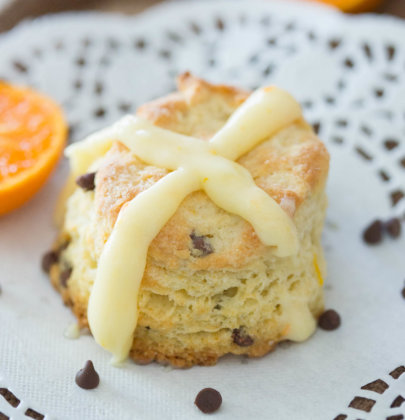Chocolate Orange Hot Cross Biscuits