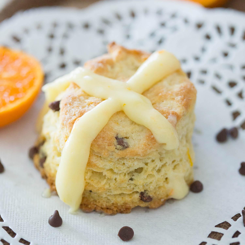 Chocolate Orange Hot Cross Biscuits
