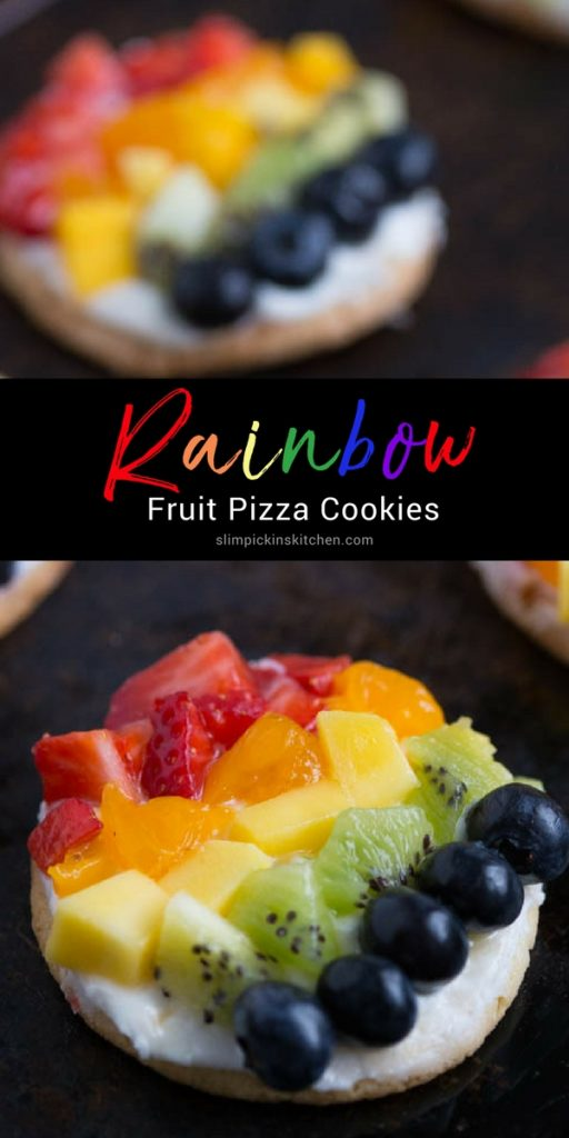 Rainbow Fruit Pizza Cookies w/ Key Lime Cream Cheese Frosting