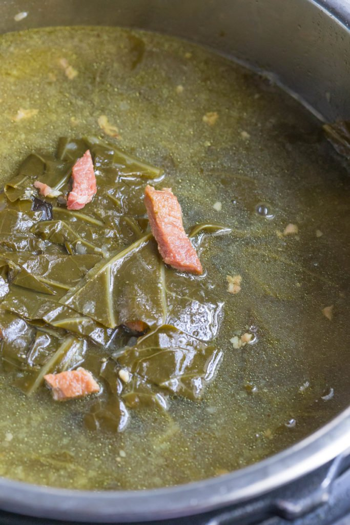 Up Close Picture of Instant Pot Collard Greens with Leftover Holiday Ham