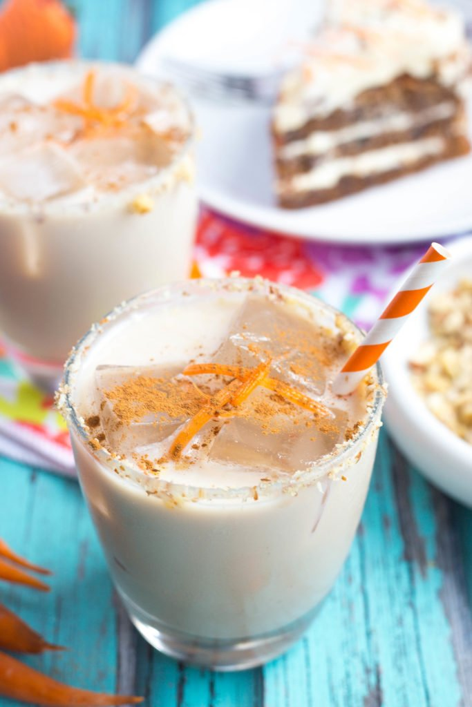 Close Up of Carrot Cake White Russian w/ Carrot Shavings & Ground Cinnamon