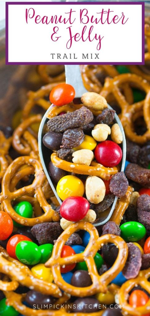 Pinterest Image for Peanut Butter and Jelly Trail Mix