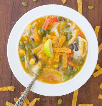 Butternut Squash Chicken Tortilla Soup