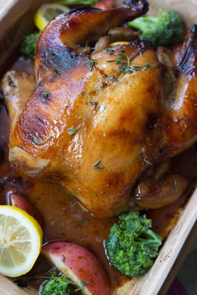 Sweet Tea Roasted Chicken in a roasting pan