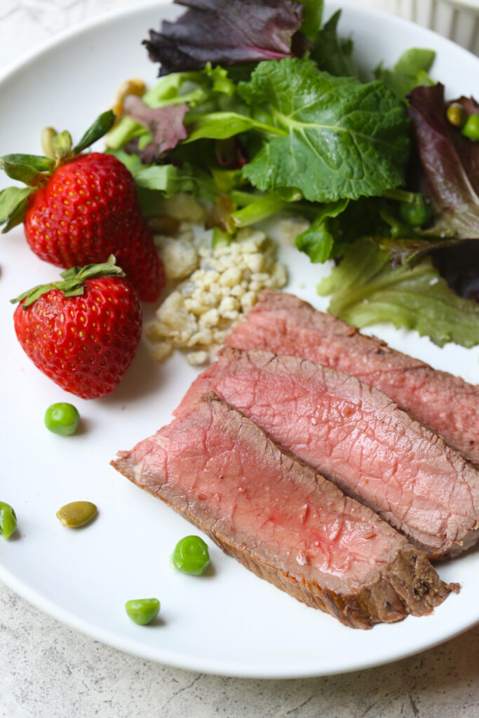 Slices of London Broil on a white plate