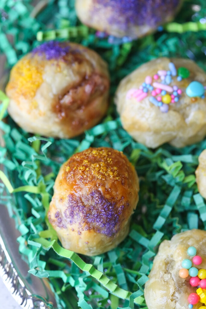 Puff Pastry Eggs with Yellow and Purple Colored Sugar